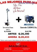 SUPER OFERTA DE TORRE DE LUZ DE 2 FOCOS + GENERADOR DE 3,500 W 6.5 HP