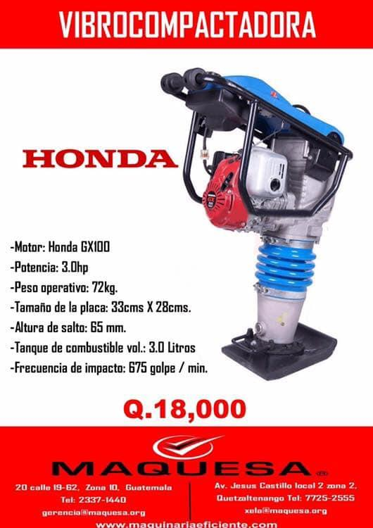 VIBROCOMPACTADORA CON MOTOR HONDA EN OFERTA LLAMA YA