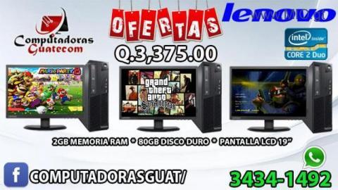 COMBO DE 3 COMPUTADORAS LENOVO CORE 2 DUO * PANTALLA 19