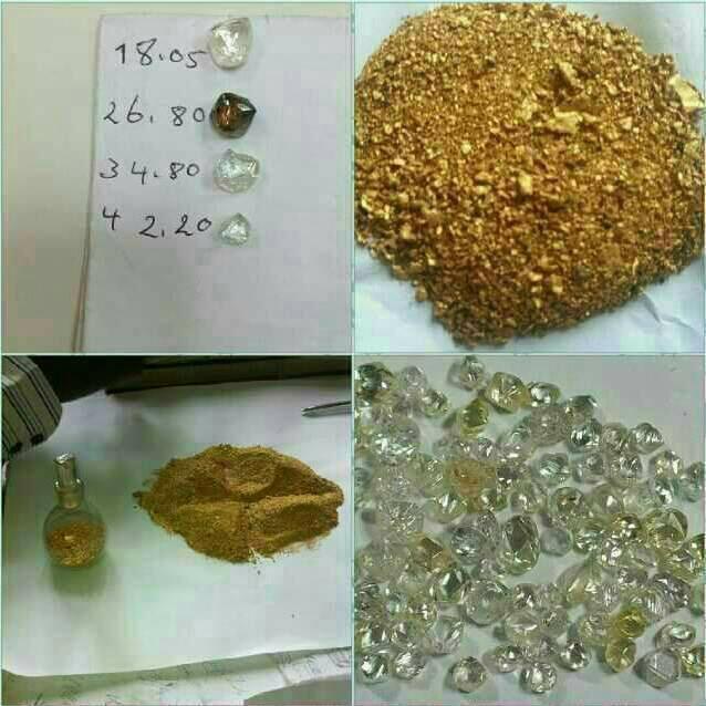 Polvo de oro de 22 quilates y Barras