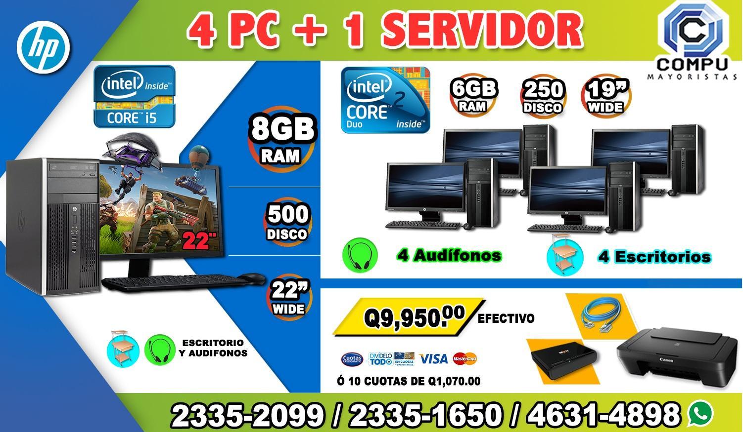 COMBO DINAMICO 04+ COMPUTADORAS HP CORE2DUO+ 01 COMPUTADORA HP COREi5