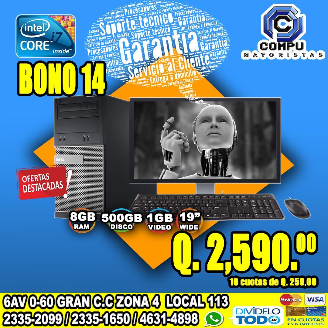 COMPUTADORAS DELL COREi7, 08GB RAM, 500 DISCO DURO, TARJETA DE VÍDEO 01GB, 04 GRÁFICO, LCD 19P
