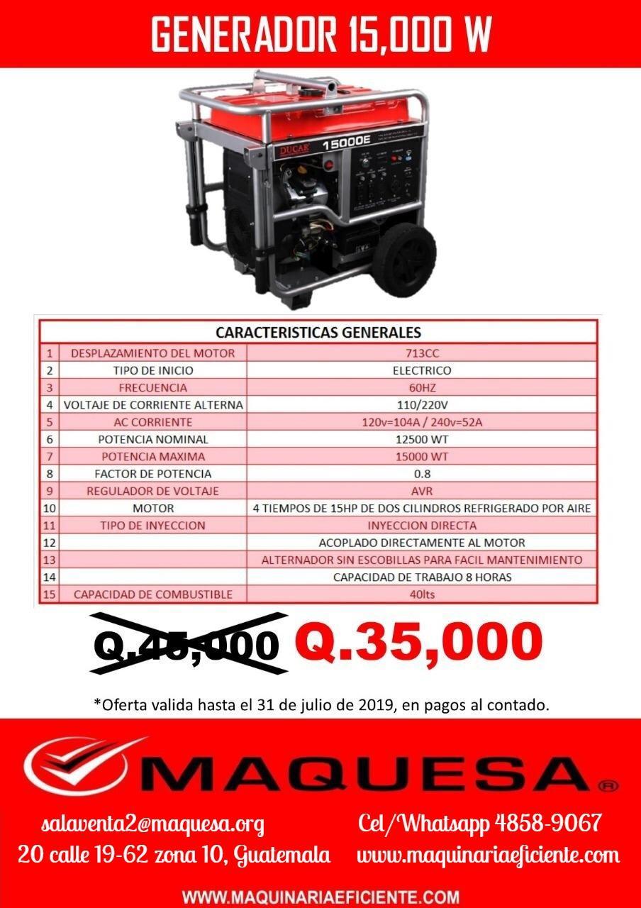 Generador Ducar 15,000w